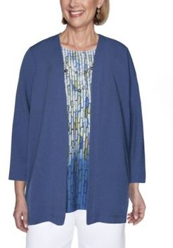 Crinkle Woven Two-for-one Misses Top