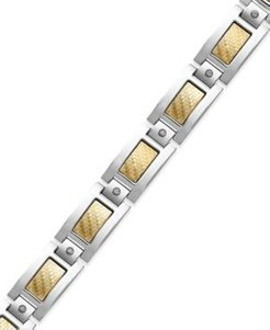 Inlay Diamond Bracelet (1/5 ct. t.w.) in Stainless Steel and 18k Gold