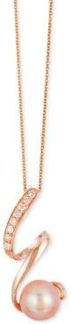 Cultured Freshwater Pearl (8mm) and Diamond (1/10 ct. t.w.) Pendant Necklace in 14k Rose Gold