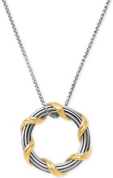 """Two-Tone Circle 20"""" Pendant Necklace in Sterling Silver & 18k Gold-Plate"""