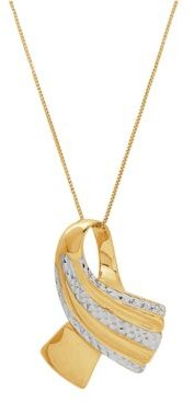 """Two-Tone Ribbon Pendant 18"""" Necklace in 10k Gold"""