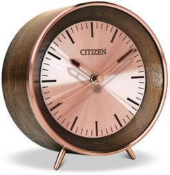 Workplace Bluetooth Brown Wood & Rose Gold-Tone Desk Clock