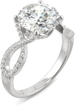 Moissanite Round Twisted Shank Ring (2-9/10 ct. tw. Diamond Equivalent) in 14k White Gold