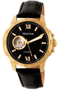 Automatic Bonavento Gold & Black Leather Watches 44mm