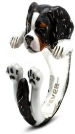 Cavalier King Charles SpanielHug Ring in Sterling Silver and Enamel