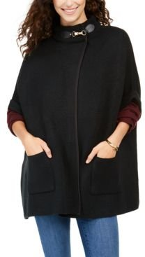Solid Riding Cape With Welt Pockets