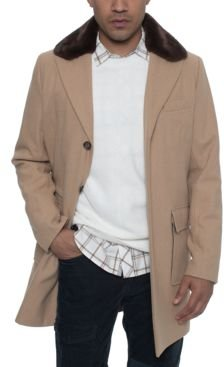 Single Breasted Walking Coat with Detachable Faux Mink Collar