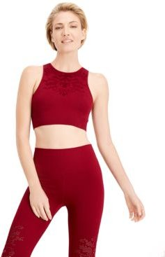 Seamless Perforated Mid-Impact Sports Bra, Created for Macy's