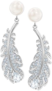 Silver-Tone Pave & Imitation Pearl Feather Chandelier Earrings