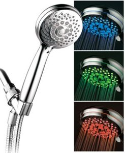 7-setting Led Hand Shower with Color-Changing Temperature Sensor Bedding