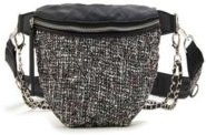 Distorted Print Weave Fannypack with Chain Embellishments