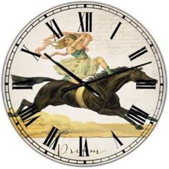 """Dream Young Lady On Black Stallion Oversized Cottage Wall Clock - 36"""" x 28"""" x 1"""""""
