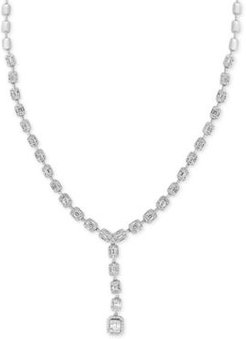 """Effy Hematian Diamond Beaded Baguette Cluster 16"""" Lariat Necklace (3-3/4 ct. t.w.) in 18k White Gold"""