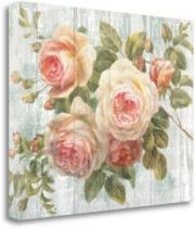 """Vintage-Inspired Roses On Driftwood by Danhui Nai Giclee Print on Gallery Wrap Canvas, 22"""" x 18"""""""