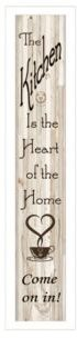 "Kitchen Is The Heart of The Home by Millwork Engineering, Ready to hang Framed Print, White Frame, 7"" x 32"""