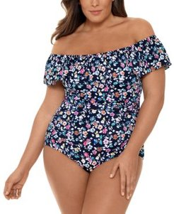 Plus Size Daisy Printed Off-The-Shoulder Tummy Control One-Piece Swimsuit, Created For Macy's Women's Swimsuit
