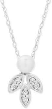 """Freshwater Pearl (8-9mm) & Diamond (1/20 ct. t.w.) 16"""" Pendant Necklace in Sterling Silver"""