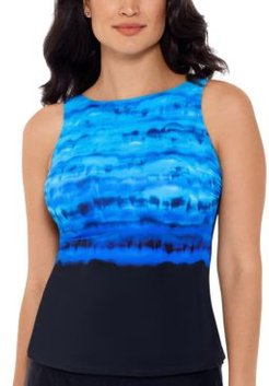 Conceptual Waters Printed High-Neck Tankini Top Women's Swimsuit