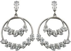 Double Row Marquise Post Drops Earrings in Fine Silver Plate