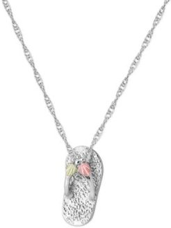 """Flip-flop Pendant 18"""" Necklace in Sterling Silver with 12K Rose and Green Gold"""