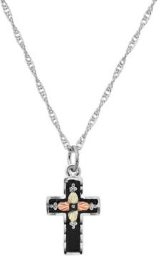 """Cross Pendant 18"""" Necklace in Sterling Silver with 12K Rose and Green Gold"""