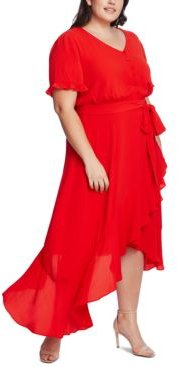 Plus Size Ruffled Belted Dress