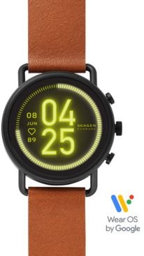 Unisex Falster 3 Brown Leather Strap Touchscreen Smart Watch 43mm