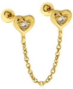 Double Cubic Zirconia Hearts 10K Gold-Tone Sterling Silver-Tone Ear Chain Studs