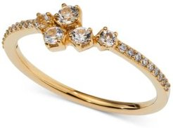 18k Gold-Plated Cubic Zirconia Cluster Ring