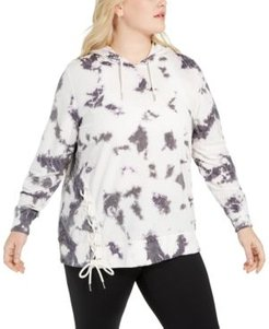 Plus Size Tie-Dyed Side-Lace Hoodie, Created For Macy's