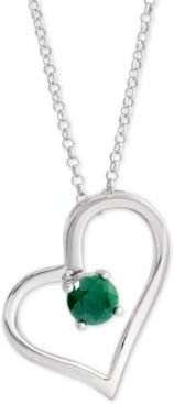 """Emerald Heart 18"""" Pendant Necklace (1/2 ct. t.w.) in Sterling Silver"""