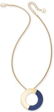 "Gold-Tone Colorblock Open Disc Pendant Necklace, 16"" + 3"" extender, Created for Macy's"