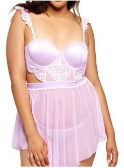 Plus Size Floral Applique 2pc Lingerie Set