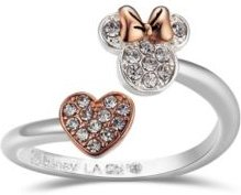 Pave Crystal Minnie Mouse Head with Heart Bypass Ring