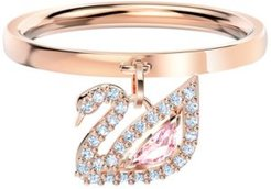 Rose Gold-Tone Pave & Pink Crystal Swan Charm Ring