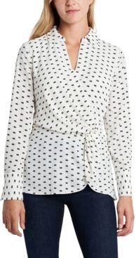 Twist Front Collared Blouse