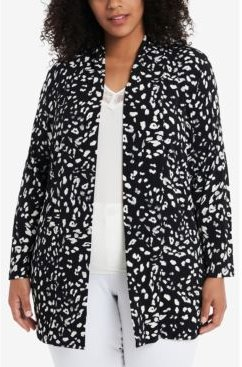 Plus Size Open Front Printed Cardigan