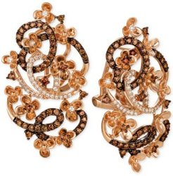 Crazy Collection Diamond Fancy Scroll Floral Earrings (1-1/3 ct. t.w.) in 14k Rose Gold
