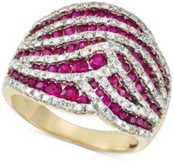 Certified Ruby (1-1/4 ct. t.w.) and Diamond (1/4 ct. t.w.) Statement Ring in 14k Gold, Created for Macy's