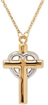 Two-Tone Cross and Heart Pendant Necklace in 14k Yellow Gold and Rhodium-Plate