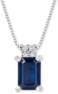 Sapphire (1-1/6 ct. t.w.) and Diamond Accent Pendant Necklace in 14k White Gold