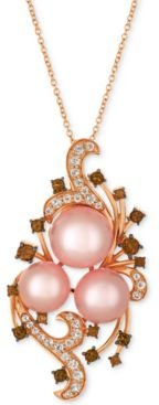 Crazy Collection Pink Cultured Freshwater Pearl (10-11mm) & Multi-Gemstone (1-1/8 ct. t.w.) Pendant Necklace in 14k Rose Gold