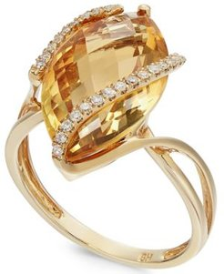 Gemma by Effy Marquise-Cut Citrine (8-1/2 ct. t.w.) and Diamond (1/8 ct. t.w.) Wrap Ring in 14k Gold