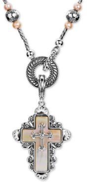"""Mother of Pearl Cross 28"""" Pendant Necklace in Sterling Silver"""