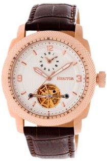 Automatic Helmsley Rose Gold & White Leather Watches 45mm