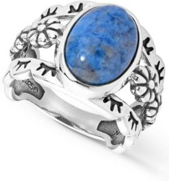 Three Row Denim Lapis Ring in Sterling Silver