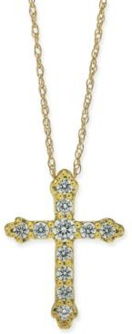 """Diamond Cross 18"""" Pendant Necklace (1/4 ct. t.w.) in 14k White Gold or 14k Yellow or Rose Gold"""