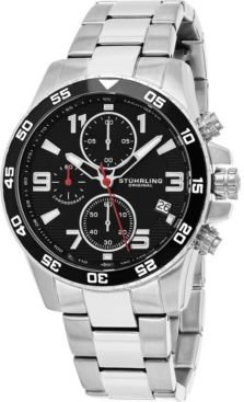 Japan Chronograph Bracelet Watch, Silver Tone Case on Silver Tone Brushed and Polished Link Bracelet, Black Dial, with Silver Tone, White, and Red Accents