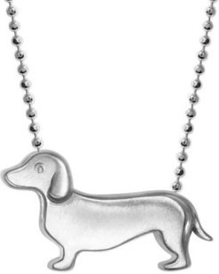 """Diamond Accent Dachshund 16"""" Pendant Necklace in Sterling Silver"""
