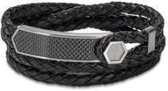 Braided Leather Wrap Bracelet in Stainless Steel